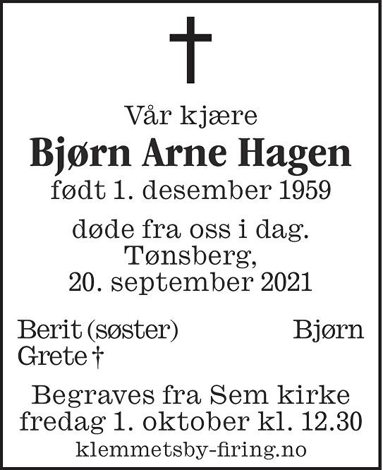 Bjørn Arne Hagen Dødsannonse