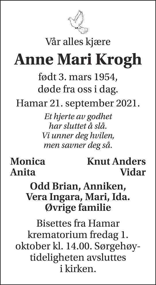 Anne Mari Krogh Dødsannonse