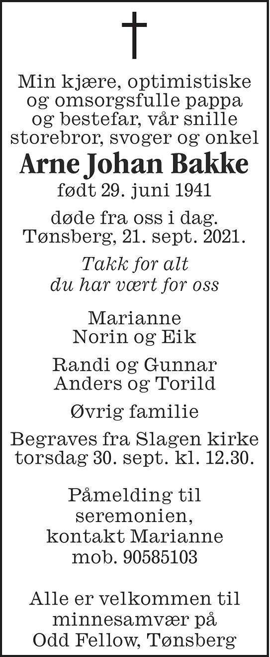 Arne Johan Bakke Dødsannonse