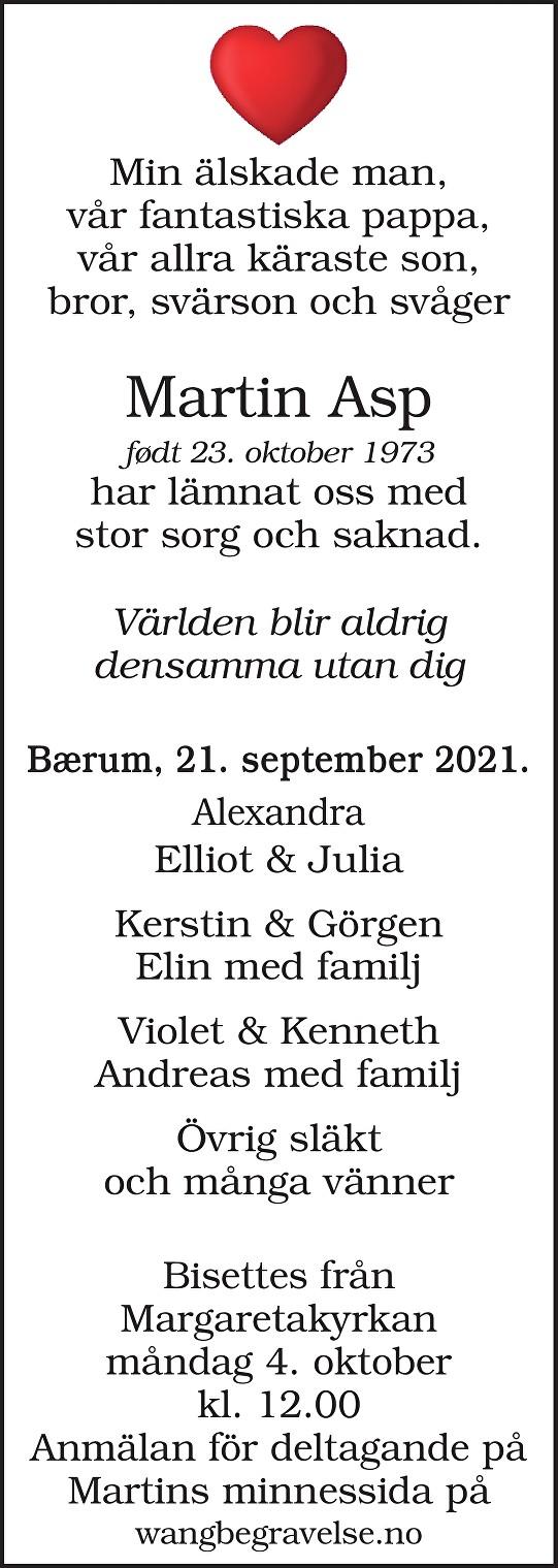 Martin Asp Dødsannonse