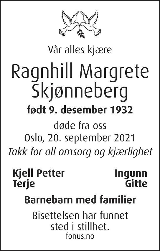 Ragnhill Margrete Skjønneberg Dødsannonse