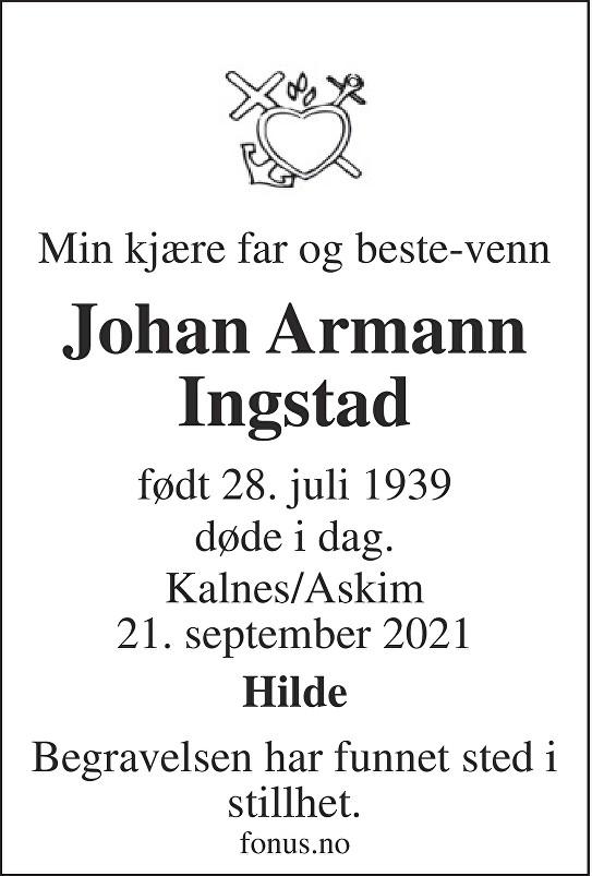 Johan Armann Ingstad Dødsannonse