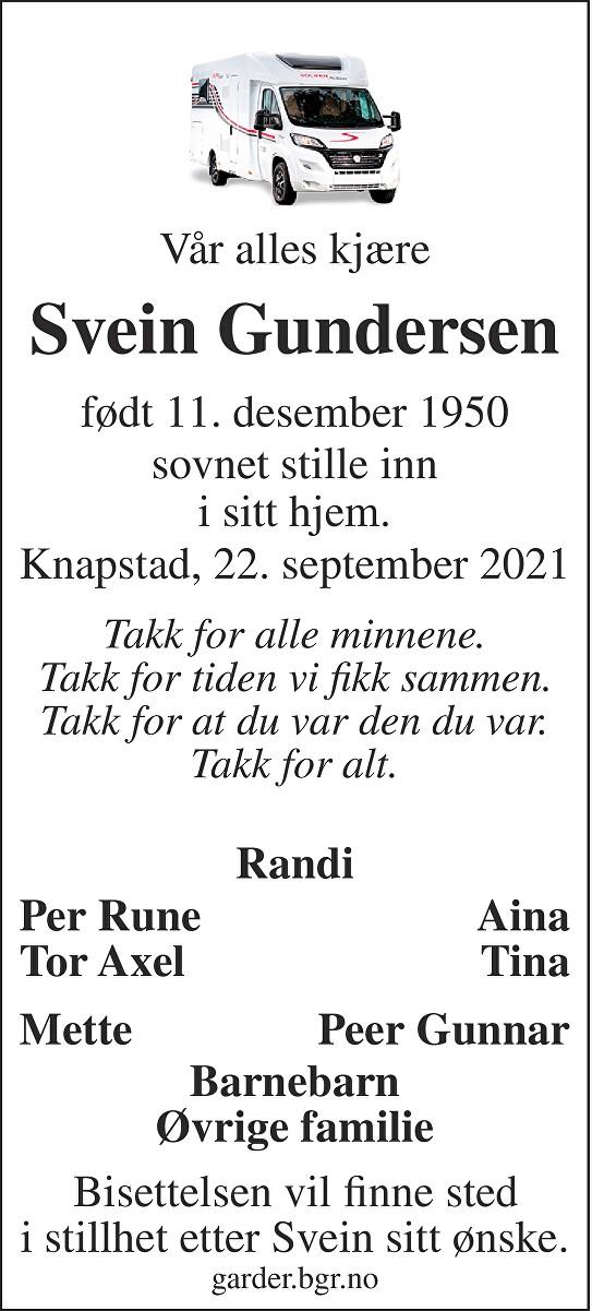 Svein Rune Gundersen Dødsannonse