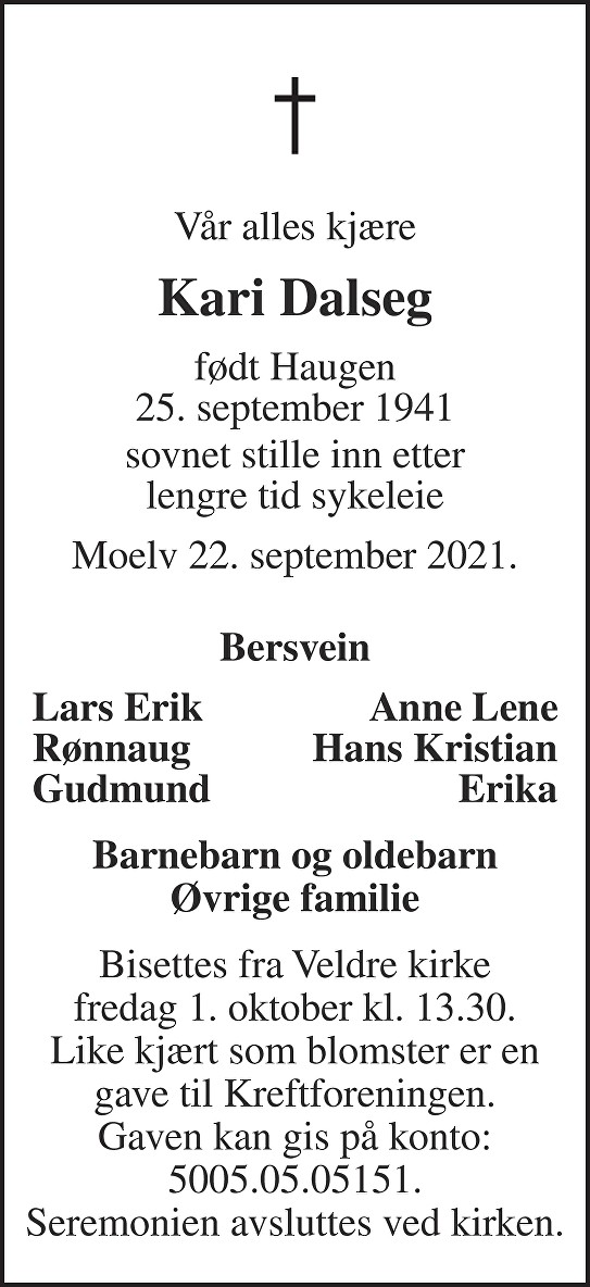 Kari Dalseg Dødsannonse