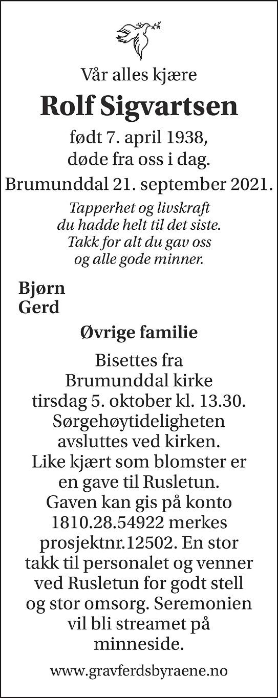 Rolf Sigvartsen Dødsannonse