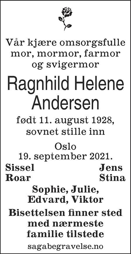 Ragnhild Helene Andersen Dødsannonse