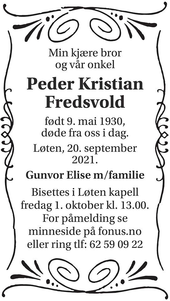 Peder Kristian Fredsvold Dødsannonse