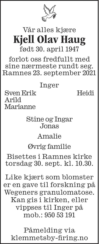 Kjell Olav Haug Dødsannonse
