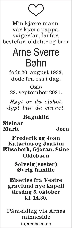 Arne Sverre Bøhn Dødsannonse