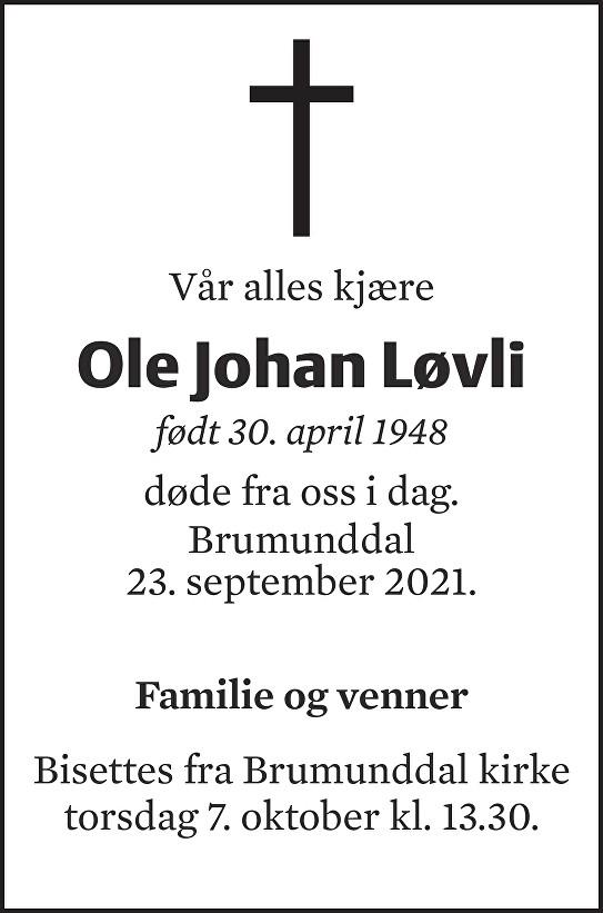 Ole Johan Løvli Dødsannonse
