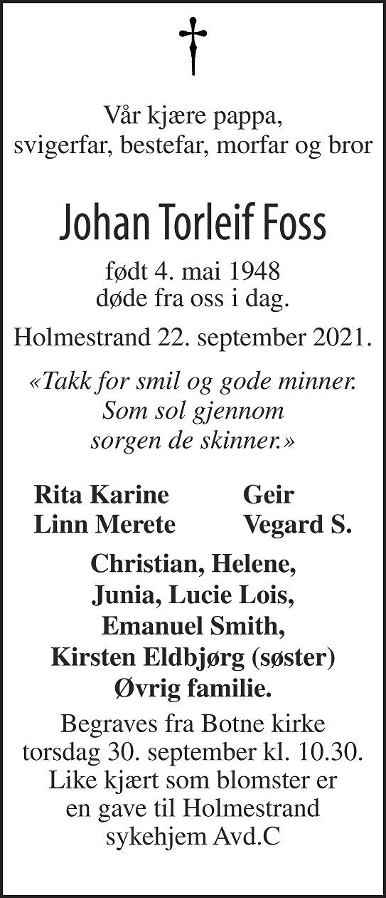 Johan Torleif 0,Foss Dødsannonse