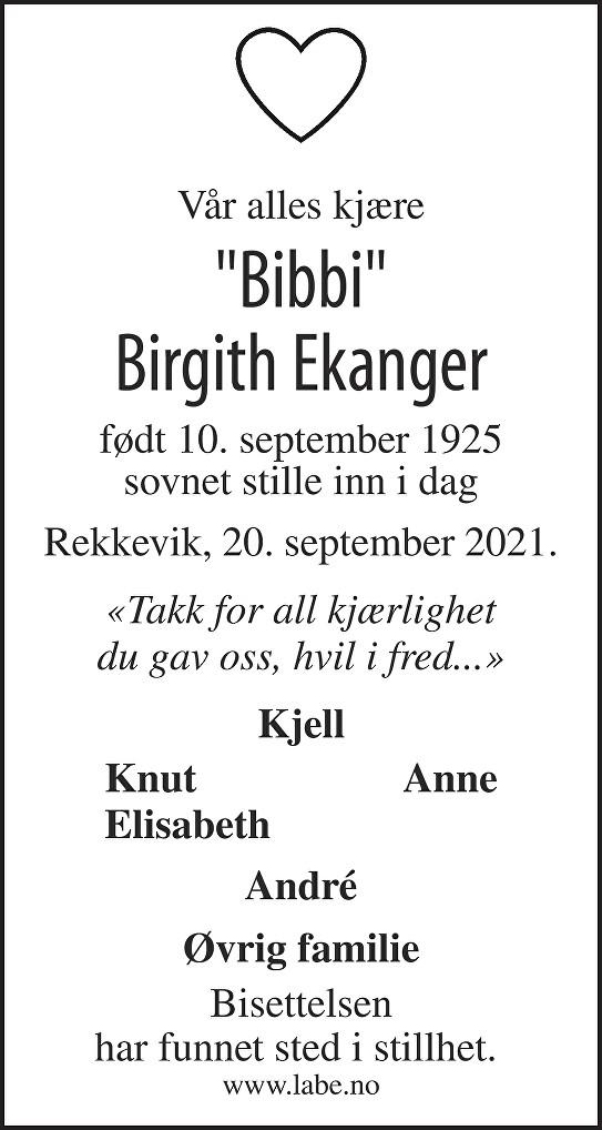 Birgith Ekanger Dødsannonse