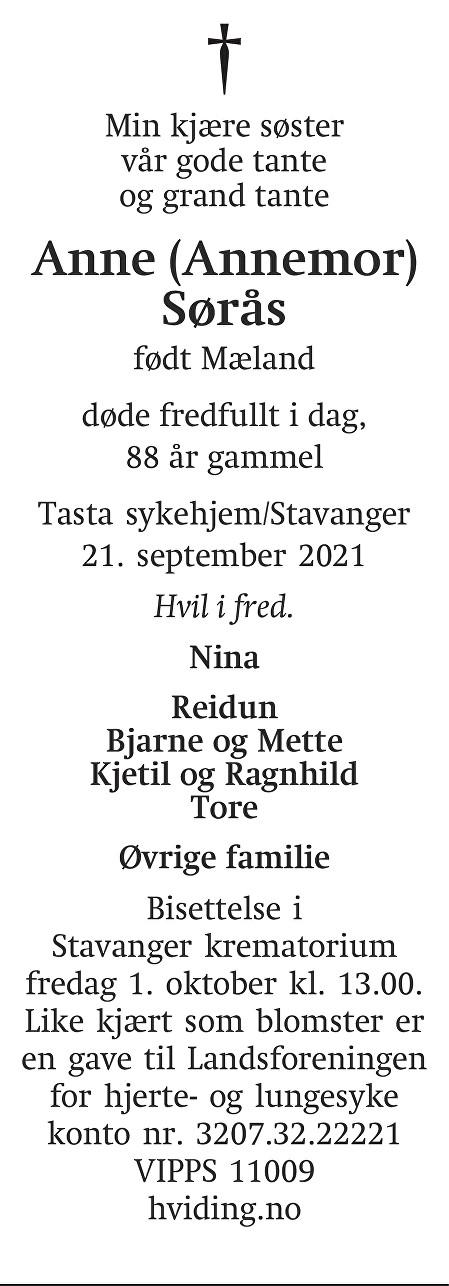 Anne Sørås Dødsannonse