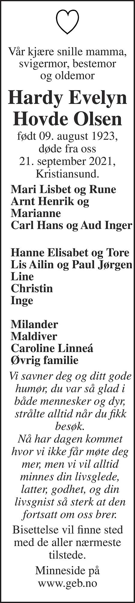 Hardy Evelyn Hovde Olsen Dødsannonse