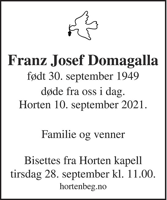 Franz Josef Domagalla Dødsannonse
