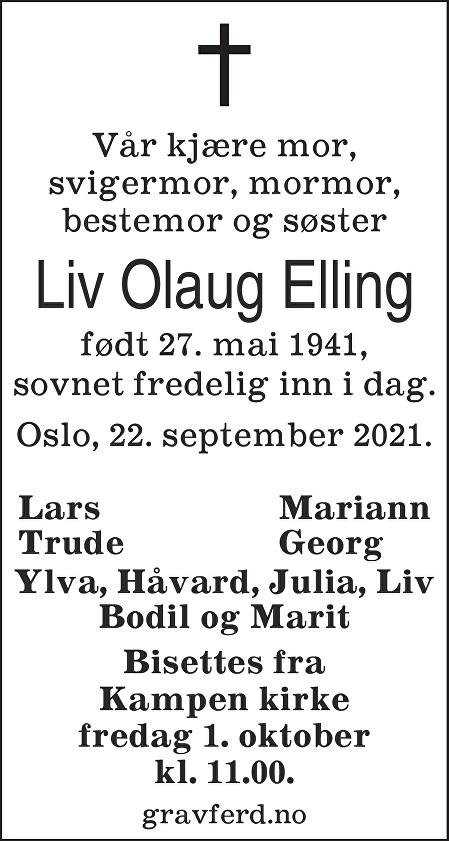 Liv Olaug Elling Dødsannonse