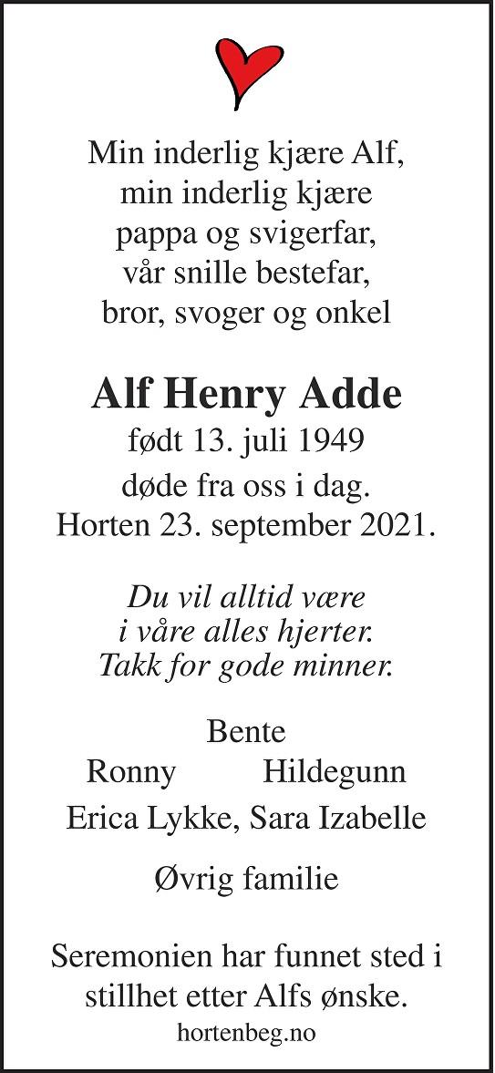 Alf Henry Adde Dødsannonse