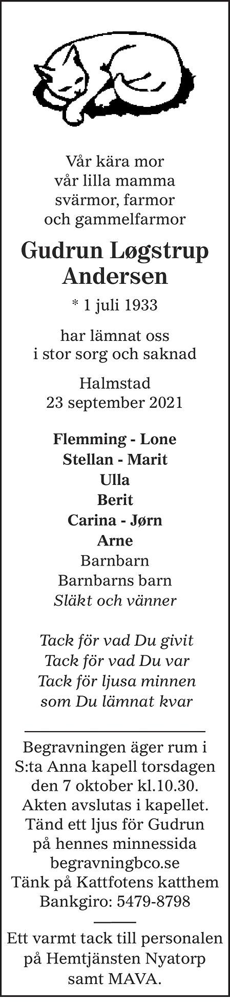 Gudrun Løgstrup Andersen Death notice