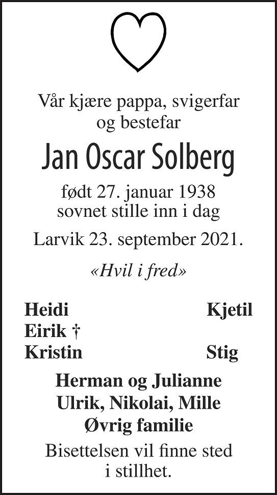 Jan Oscar Solberg Dødsannonse