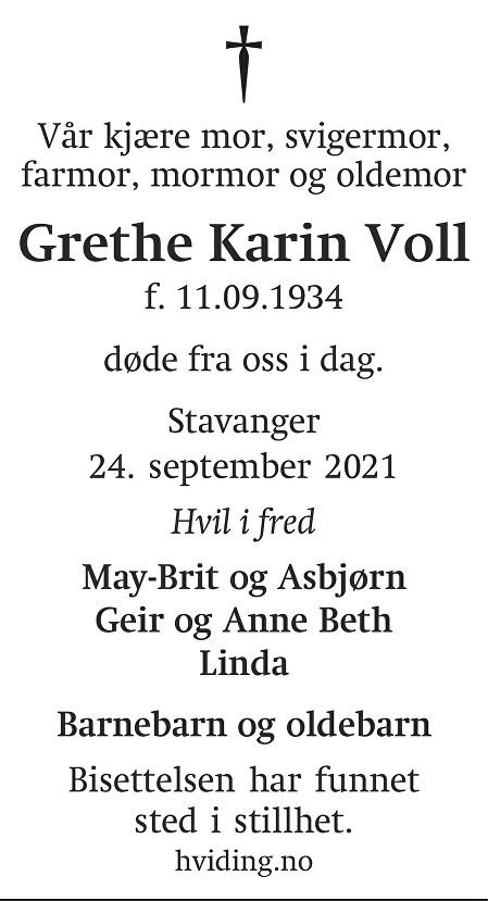 Grethe Karin Voll Dødsannonse