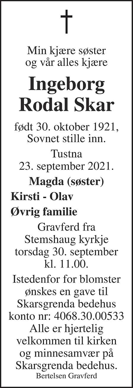 Ingeborg Rodal Skar Dødsannonse