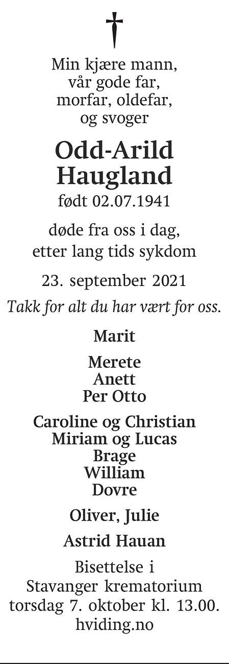 Odd Arild Haugland Dødsannonse