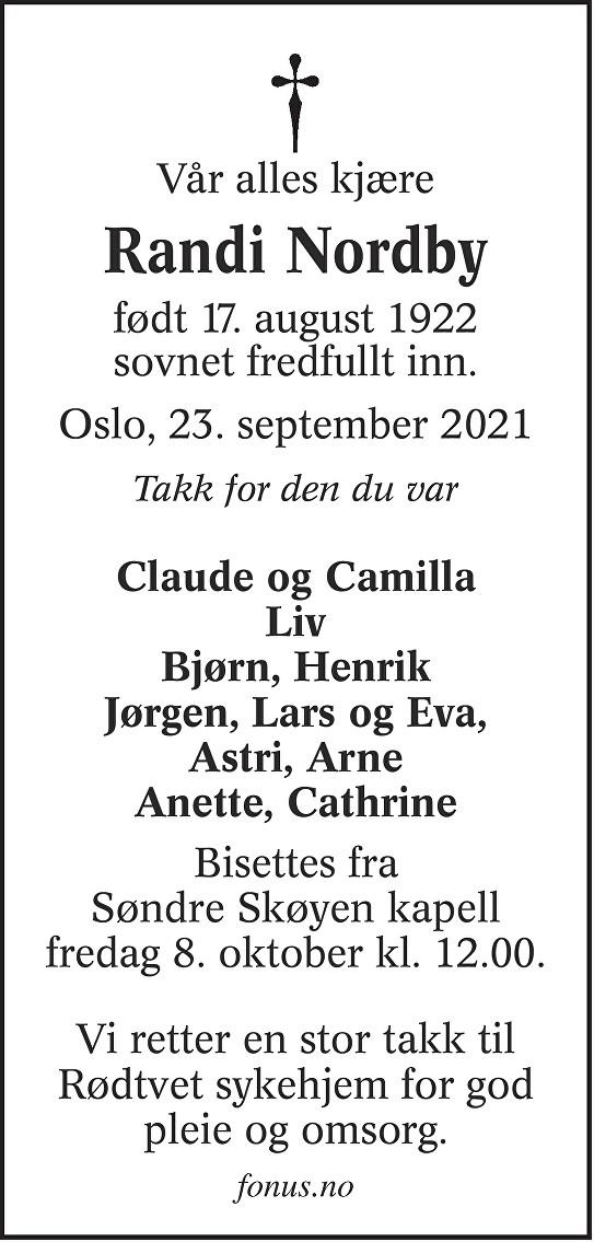 Randi Nordby Dødsannonse