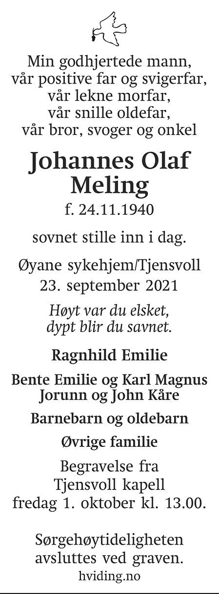 Johannes Olaf Meling Dødsannonse