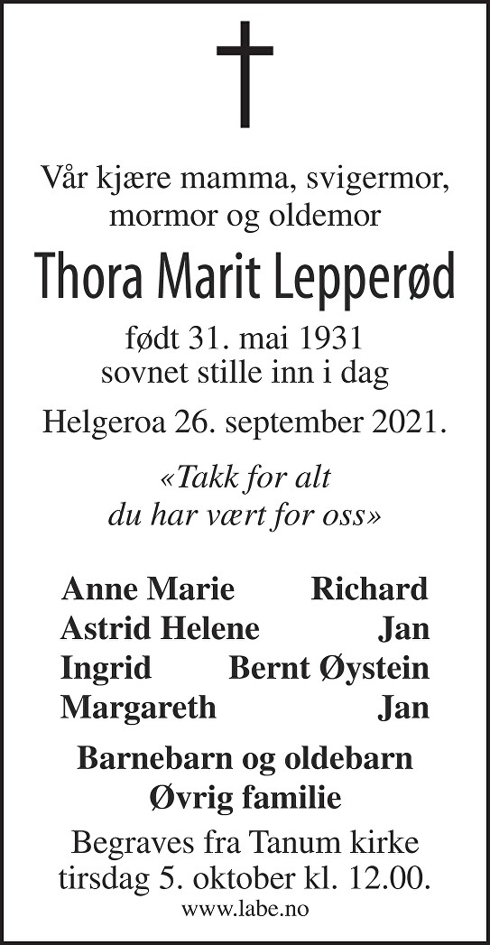 Thora Marit Lepperød Dødsannonse