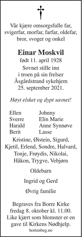 Einar Moskvil Dødsannonse