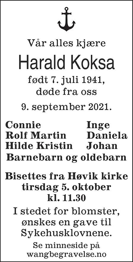 Harald Koksa Dødsannonse
