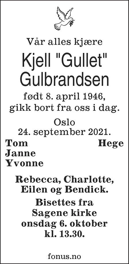 Kjell Gulbrandsen Dødsannonse