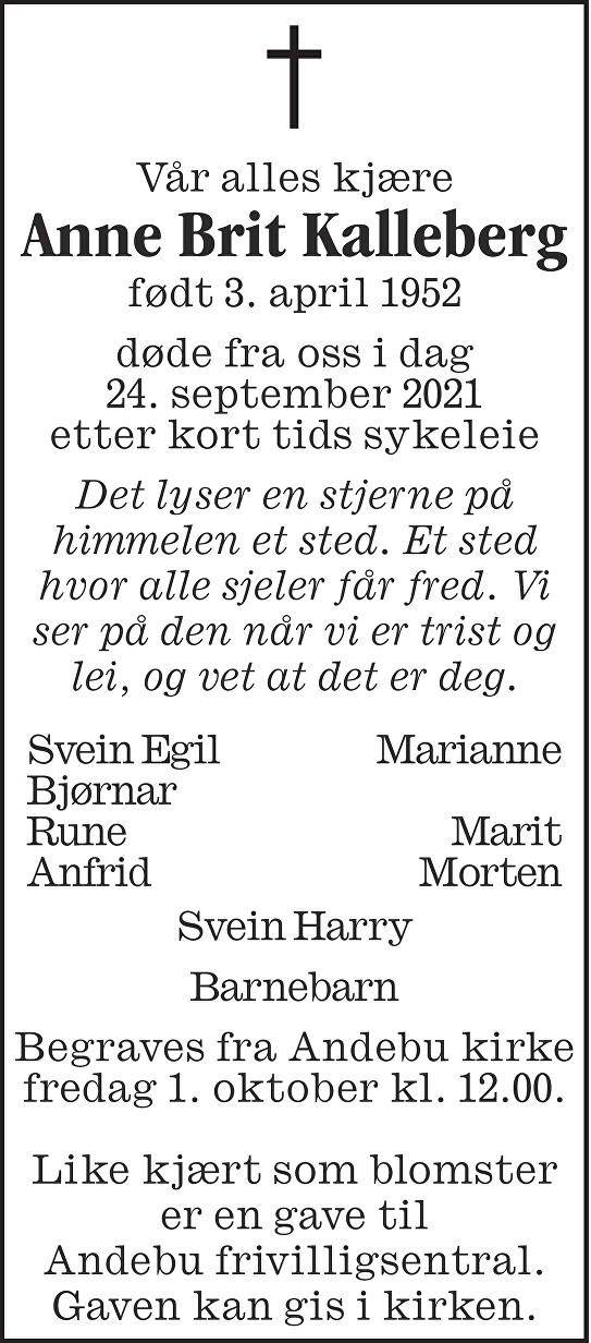 Anne Brit Kalleberg Dødsannonse