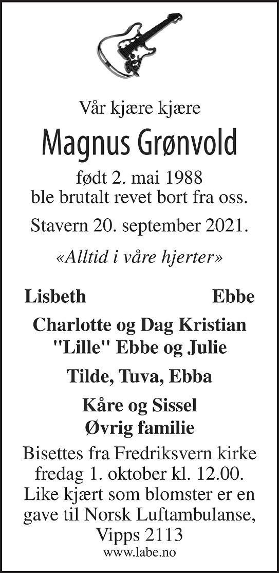 Magnus Grønvold Dødsannonse