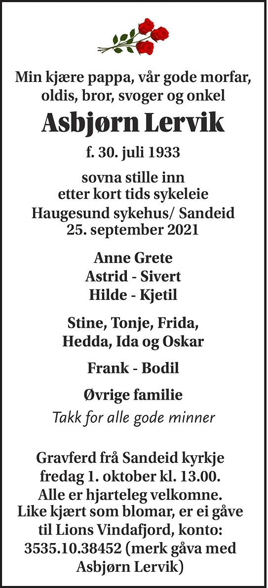 Asbjørn Lervik Dødsannonse