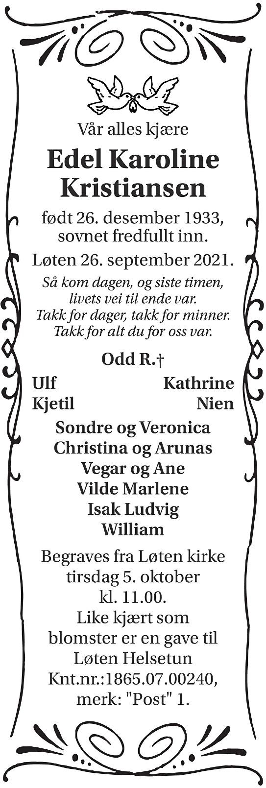 Edel Karoline Kristiansen Dødsannonse