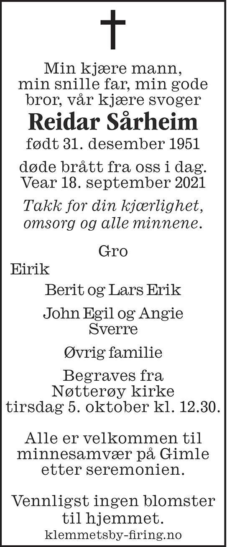 Reidar Sårheim Dødsannonse