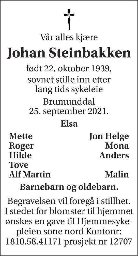 Johan Steinbakken Dødsannonse