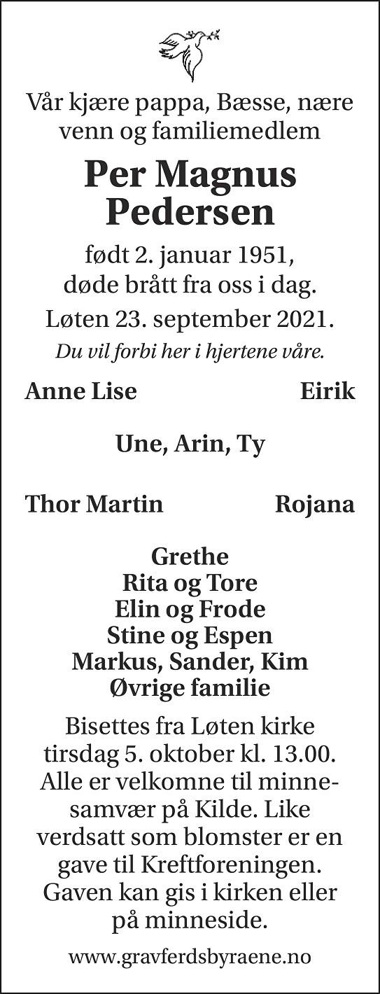 Per Magnus Pedersen Dødsannonse