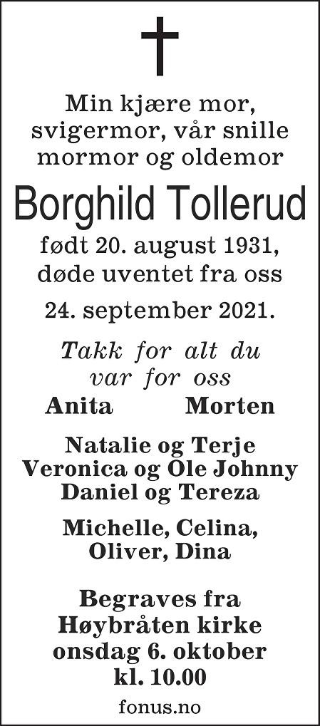 Borghild Tollerud Dødsannonse