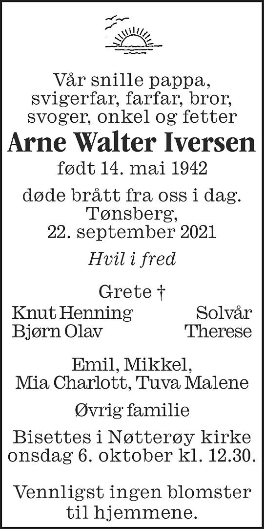 Arne Walter Iversen Dødsannonse