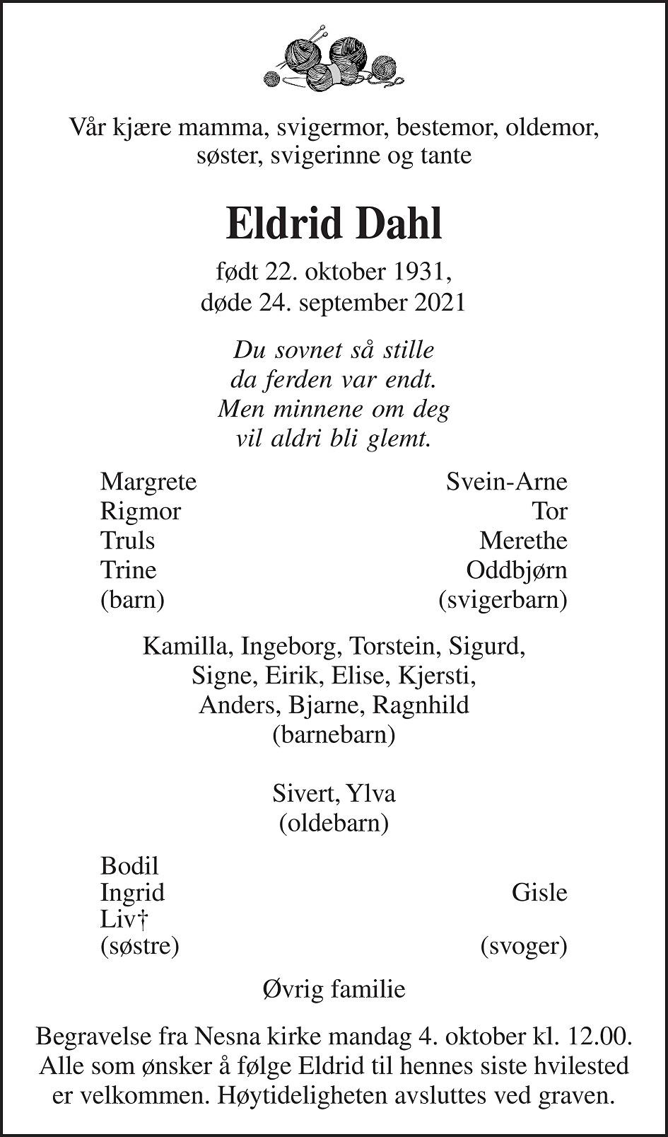 Eldrid Dahl Dødsannonse