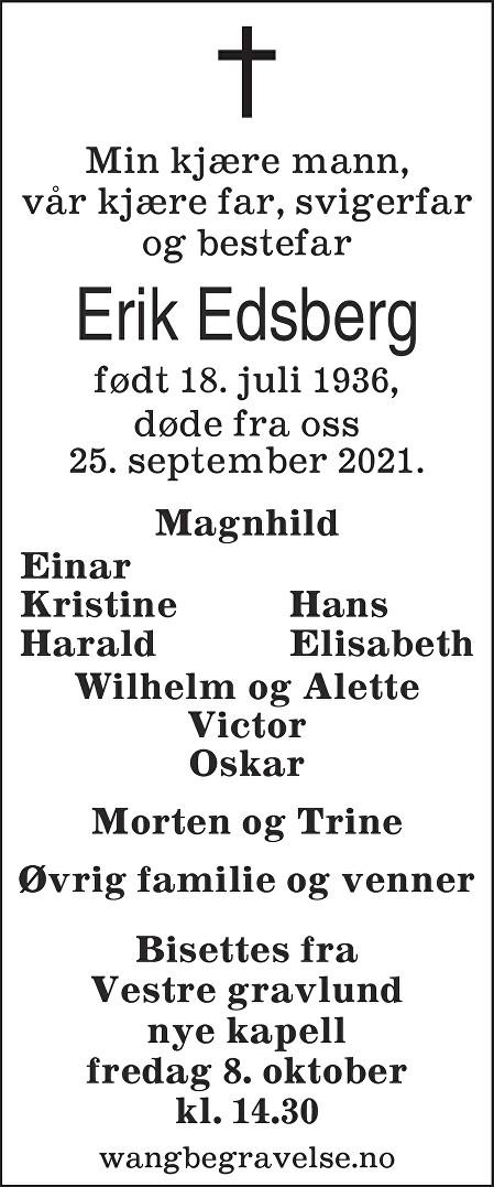 Erik Edsberg Dødsannonse