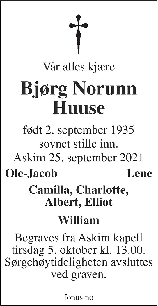 Bjørg Norunn Huuse Dødsannonse
