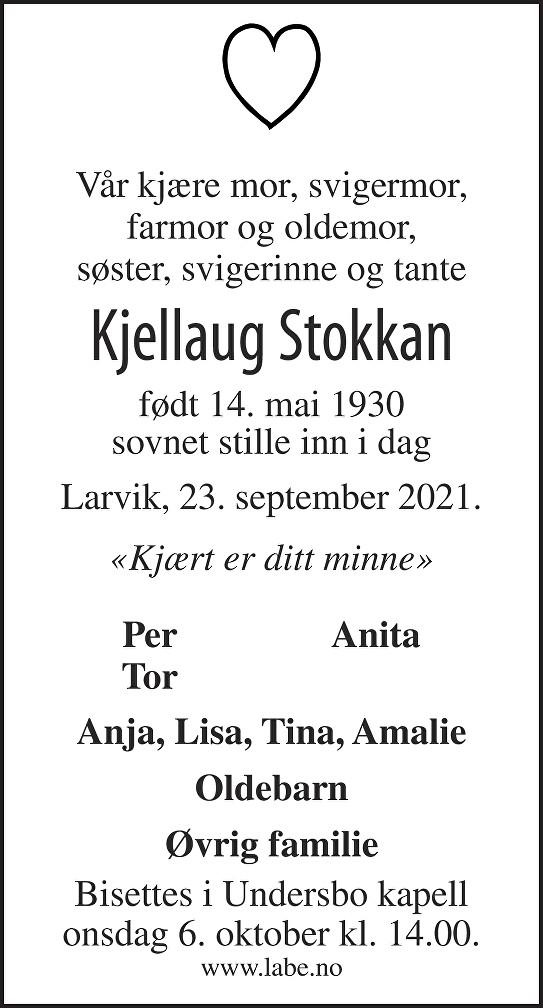Kjellaug Stokkan Dødsannonse