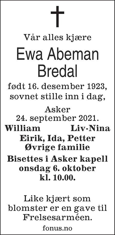 Ewa Bredal Dødsannonse