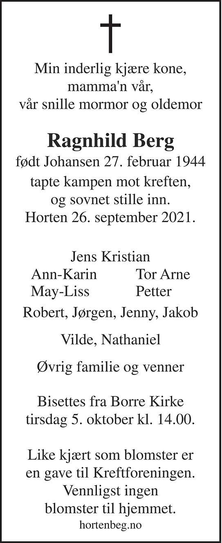 Ragnhild Berg Dødsannonse