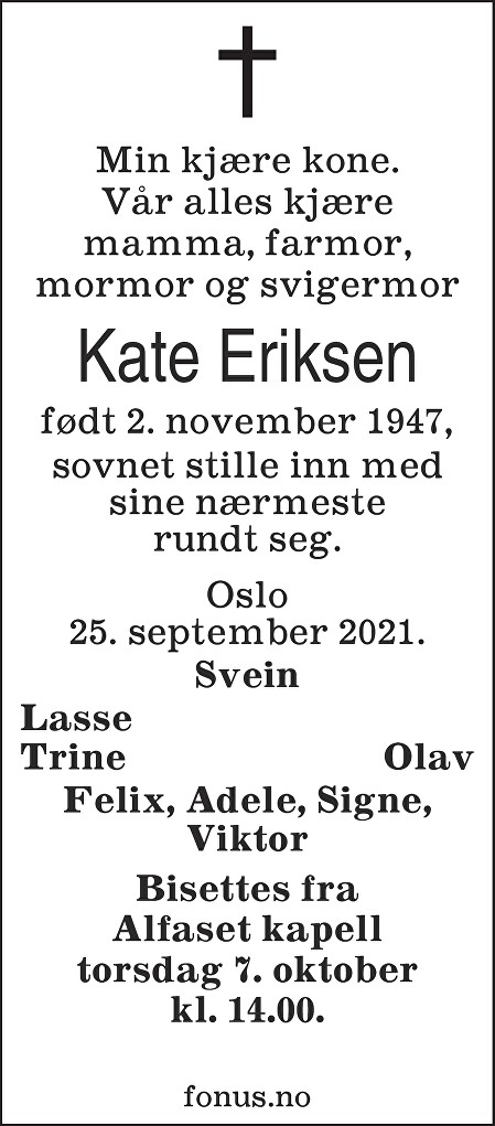 Kate Eriksen Dødsannonse