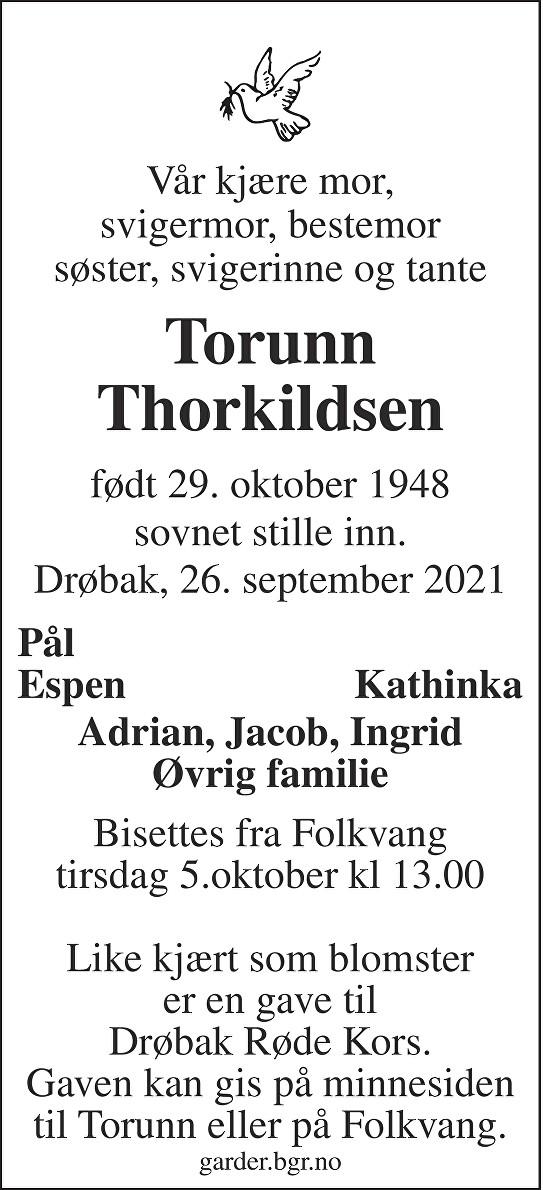 Torunn Thorkildsen Dødsannonse