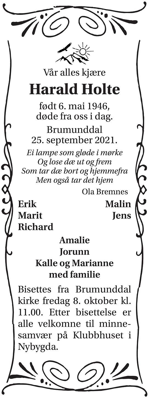 Harald Holte Dødsannonse